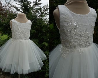 VERONA Ivory Lace Tulle Flower Girl Dress Wedding Bridesmaid Dress with Flowers