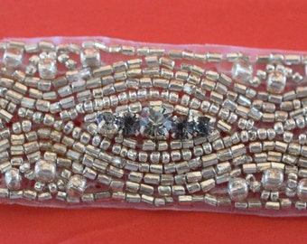 "Crystal Rhinestone Trim by the Yard-Wholesale Silver Bridal Trim- rhinestone banding- 1"" Crystal Trim -Rhinestone Applique"