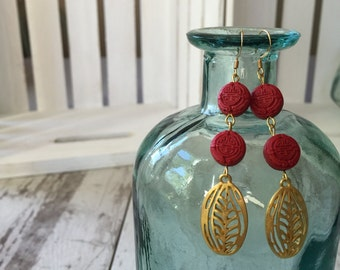 Carved Red Clay Golden earrings