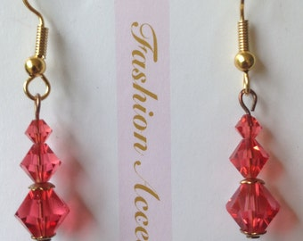 Swarovski Padparadscha crystal dangle earrings