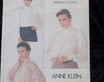 1980s Vintage Vogue American Designer Pattern, Vogue 1057, Designer Anne Klein, Misses' Blouse Pattern, Size 10