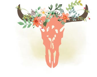 Cow skull svg clipart, floral bull Skull Clipart, Boho, western cowgirl,Texas, country, Cutting File,Vector Svg Png Jpeg Cricut & Silhouette