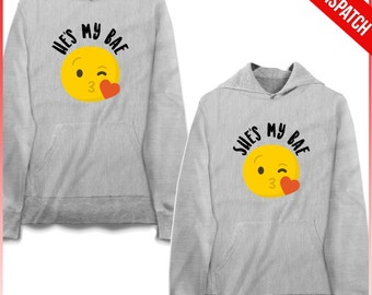 Couple Hoodie Set - He's My Bae She's My Bae - FAST DISPATCH  Matching Couple Hoodies matching couple set 2 partners look hoodies for couple