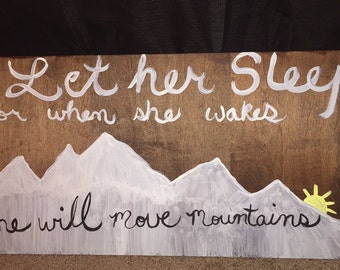 Wood Sign, handpainted, nursery decor, baby, girl, Let her Sleep