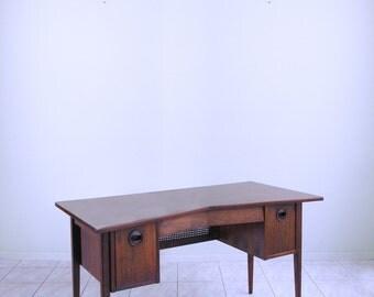 danish modern TEAK desk w/ CANE screen mid century desk mod MINIMALIST space age desk