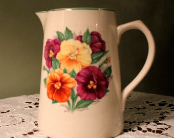 Vintage English Pitcher with Pansies - Elijah Cotton Ltd Lord Nelson Ware of Staffordshire England