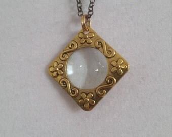 Magnifying Glass Necklace Pendant Flower Gold Black Chain Long Adjustable Fine