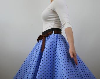 Skater polka dot skirt, circle skirt, blue skirt, 1950s skirt, swing skirt, rockabilly skirt, knee length skirt, elastic waist skirt, retro