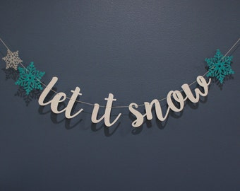 LET IT SNOW Snowflake White Aqua Frozen Glitter Banner Sign | Christmas Winter Holiday Party Decor, Mantle, Family Card Photoshoot, Premium