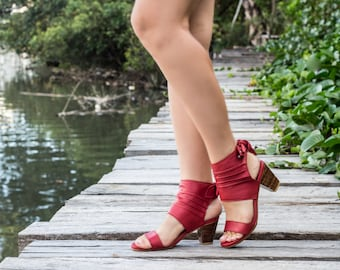 Women's leather shoes / Women's shoes / Maroon leather shoes / High heels / Leather shoes / Red women's shoes / Summer shoes