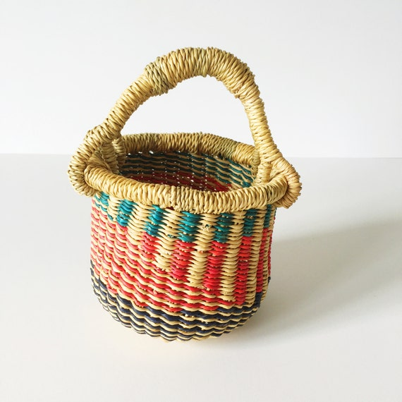 Mini Natural, Teal & Red Bolga Basket