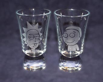 Rick and Morty design etched SHOT GLASSES - Custom shot glasses for him her girlfriend boyfriend - Rick and Morty gift - Novelty