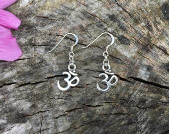 Silver Om Drop Charm Earrings
