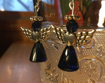 Valentine Angel Heart Indigo Earrings