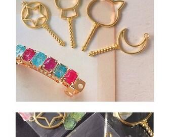 Gold Open bezel,resin open bezel,gold wand charm,resin charm,wand charm,gold bezel,open back bezel,gold charm,resin charm,heart bezel