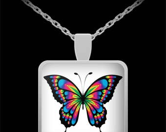 Butterfly Necklace - Pink, Blue, Green Butterfly Jewelry - Butterfly Gifts for Women, Girls - Beautiful Butterfly Wing Pendant - 22in Chain