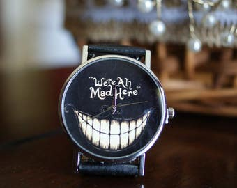 We Are All Mad Here watch. Smile watch. Black Watch. Gothic Wacth. Alice in Wonderland