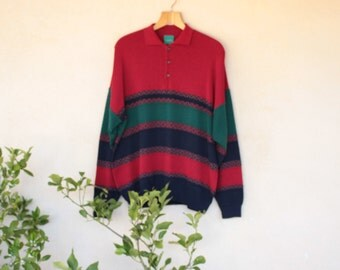 Vintage Long Sleeved Red Green And Navy Blue  Canada Polo Knit - Size Large