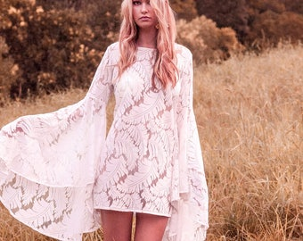 White Lace Boho Dress with Bell Sleeves   Bohemian Bridesmaid Dress   Boho Bridesmaid Dress   White Bridesmaid Dress