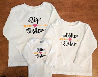 Big Middle Little Sister Matching Shirts - LONG SLEEVE - Big Sister Shirt - Middle Sister Shirt - Little Sister Shirt - Shirts for Sisters