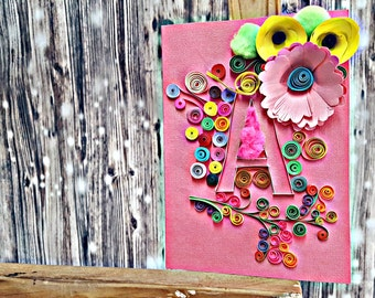 Custom letter quilled greeting card, customized quilling card, quilled postcard, flower quilled card, initial greeting card, quilling art