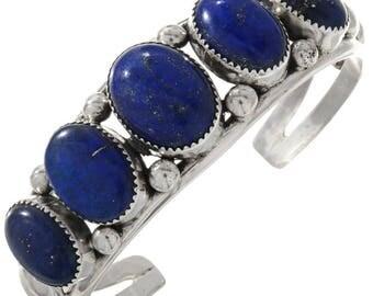 Navajo Blue Lapis Silver Bracelet Ladies Southwest Cuff