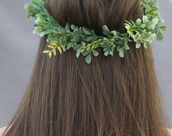 Greenery crown, flower crown wedding, bridal flower crown, greenery headpiece, wedding crown