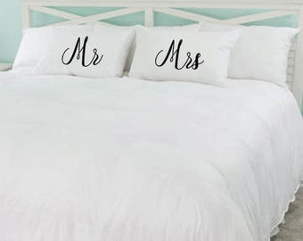 Personalised Mr & Mrs Pillow Cases Bedding