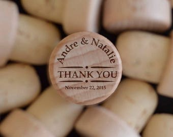 Custom Wine Cork - Monogramed Stopper - Wine Bottle Cork - Wine Gifts - Wood Wine Corks - Personalized Favors - Wedding Gifts for Guests