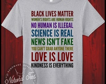Women's Rights News Isnt Fake Black Lives Mater T-Shirt Democrat Anti Trump Liberal Human Rights Feminism Love Is Love Equal Tee