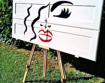 Repurposed headboard,creative headboard,rustic painting,white headboard,wooden headboard,upcycled headboard, recycled headboard,painting