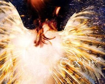Angel Art Print, Guardian Angel, Angel Art,Fantasy Angel,Fantasy Art,Giclee Print,Angel Wings,Bird Wings,Yellow,Stars,Fine Art,Metal Print