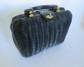 Black Wicker Bag, Vintage Bag, Wicker Bag, Purse, Bag, Basket Purse, Black Bag, Black Purse, Vintage