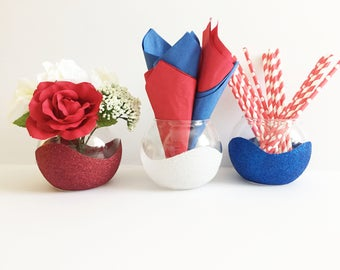 Patriotic Centerpiece - Red White and Blue Centerpiece - 4th of July - Independence day - Patriotic Party Decor - Glitter Vases - Home Decor