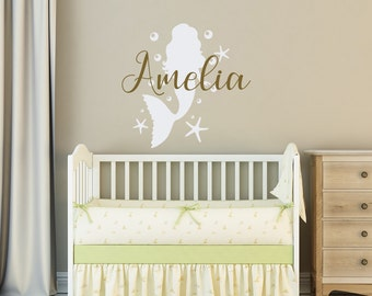 Little Mermaid Wall Decal Personalized Girls Name  Mermaid Girl Nursery Wall  Art Decor  Personalized Part 37