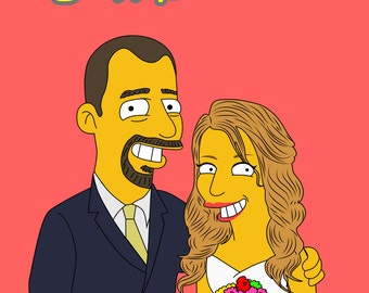 Valentines Gift, Custom Portrait, Gift For Him, Gift For Her, Custom Simpsons, Gift For Couple, Couple Gift, Custom Caricature, Simpsons