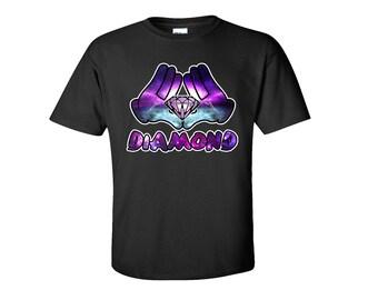 Cali Diamond Galaxy Diamond Shirt Diamond Bleeding Melting Dripping Galaxy Shirt Diamond T Shirt Pärchen Shirt