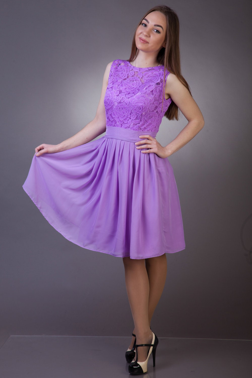 Light purple bridesmaid dress Purple lace dress dress Cocktail