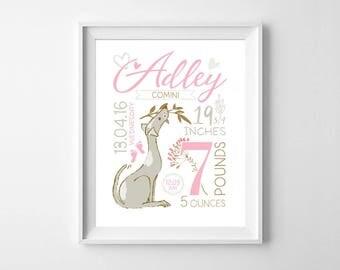 Birth announcement wall art, Baby girl birth stats, Baby girl room decor, Baby girl nursery, Birth print nursery decor, newborn baby gift