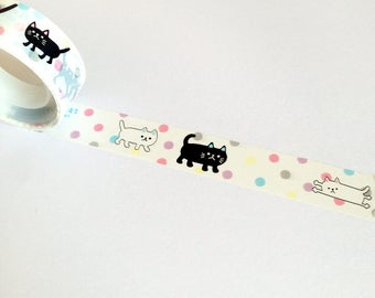 Cat Shiny Deco Tape, cat planner supplies, kawaii cat tape, craft DIY decoration, diary plastic tape, cute cat lady gift, cat lover present