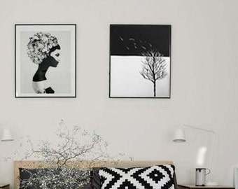 ORIGINAL Acrylic Painting, Flying Leaves, Winter tree painting, Black and white, Christmas gift idea