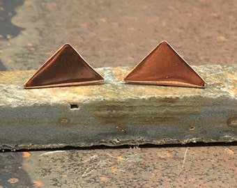 Minimal Copper Triangle Stud Earrings with bright polished finish, Geometric Earrings
