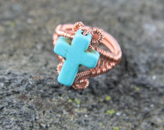 Copper Wire Weave Cross Ring Size 4.5, Wire Wrap Beaded Jewelry, Turquoise Howlite, Unique Religious Gift for Him or Her