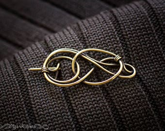 Gold brooch Celtic shawl pin Brass Wire wrapped brooch gift for her OOAK