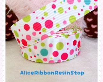 """3 yards 7/8"""" polka dots ribbon, colorful polka dots ribbon, mixed color ribbon, grosgrain ribbon, hair bow ribbon"""