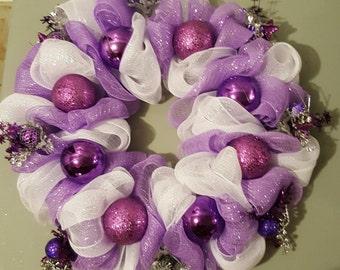 Purple and White deco mesh christmas wreath