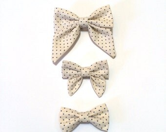 Cream and Heart Polka Dot Hair Bow