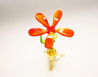 Glass Flower Figurine Gift for her Murano Glass Miniature Flower glass sculpture Art glass Lampwork Handmade gifts