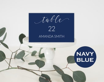 Place Card Wedding - Place Card Template - Table Numbers - Table Numbers Wedding - Table Numbers Navy - Wedding Downloadable #WDH0163
