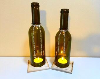 Wine bottle candle holder - Wine bottle light - Natural log decor - Log candle holder - Natural wood decor - Log cabin decor